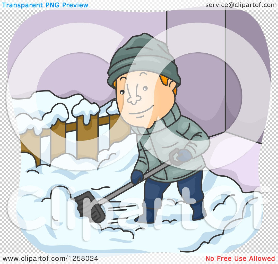 Clipart of a Happy White Man Shoveling Snow in the Winter ...