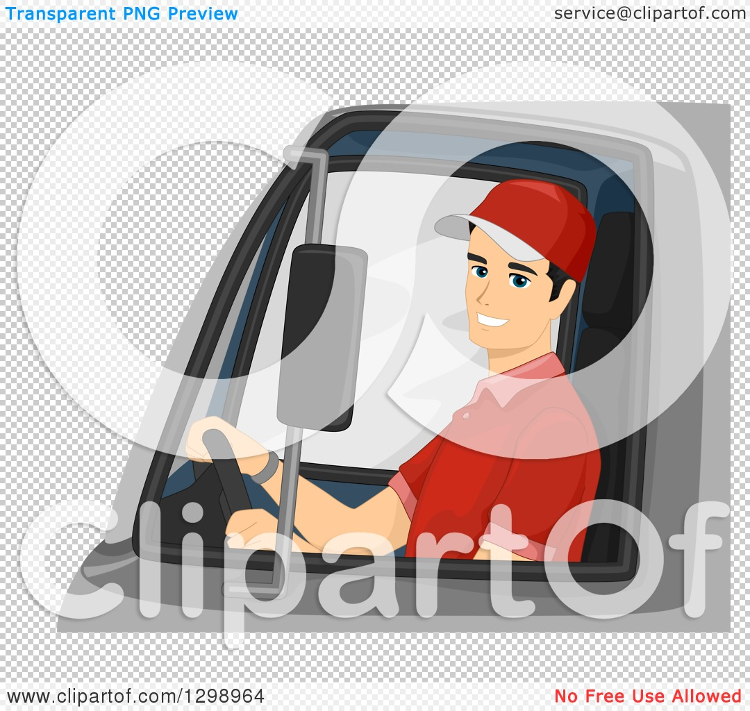 Clipart of a Happy Young Male Delivery Truck Driver - Royalty Free ...
