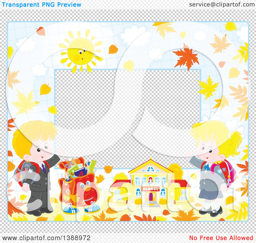 Clipart of a Horizontal Border Frame of Children Going Back to ...