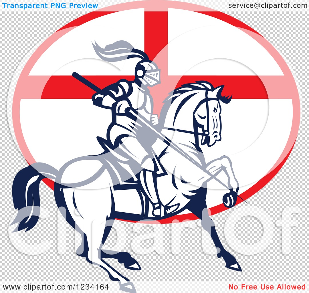 Clipart of a Horseback Jousting Knight over an English Flag Oval ...