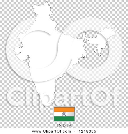 Clipart of a India Flag And Map Outline - Royalty Free