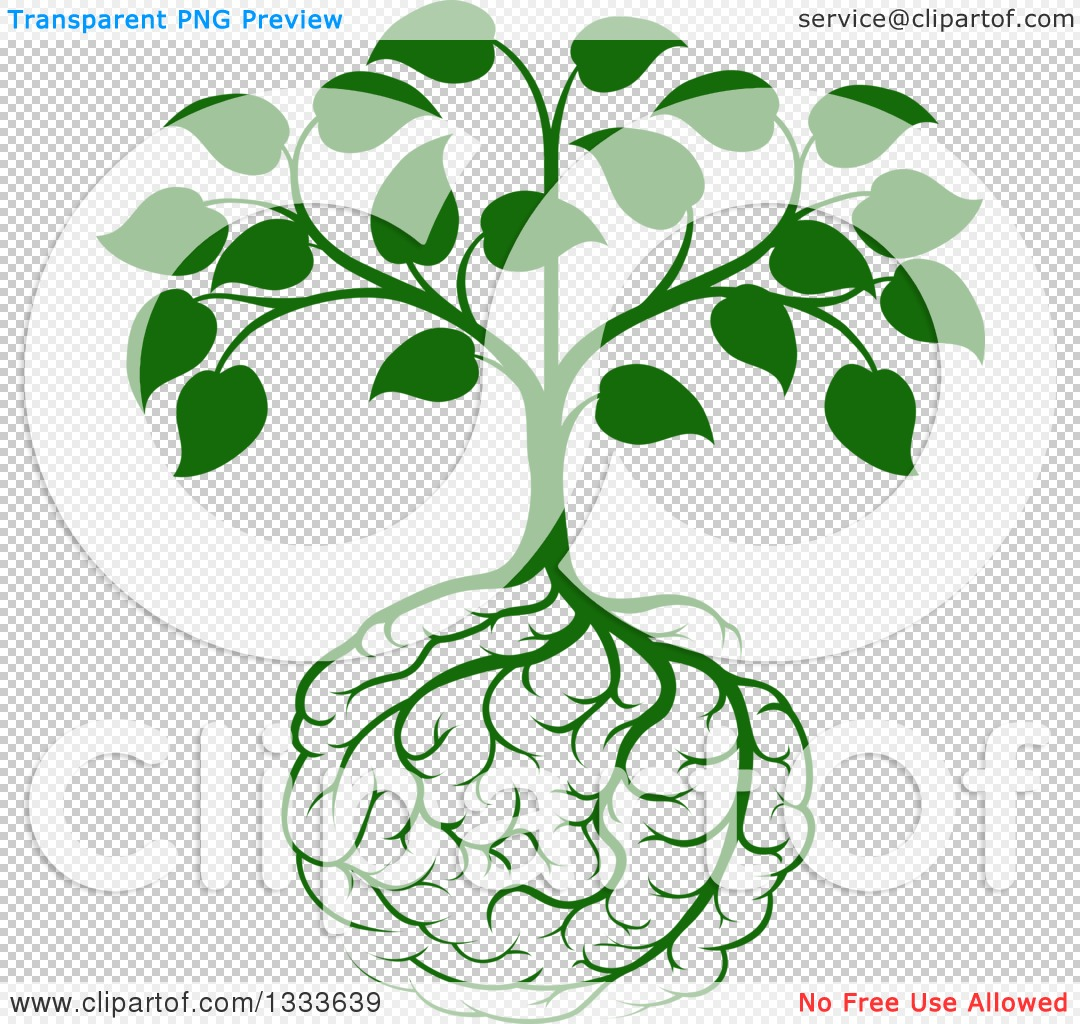 Clipart Of A Leafy Green Heart Shaped Tree With Brain Roots