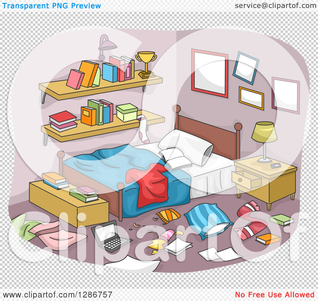 Clipart Of A Messy Boy S Room With Clothing And Items All Over The
