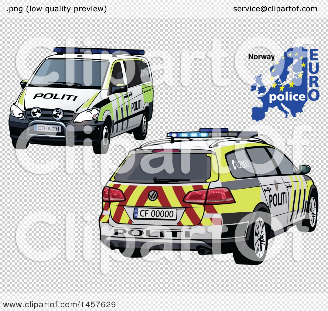 Clipart Of A Norwegian Police Car Shown From Two Different Angles