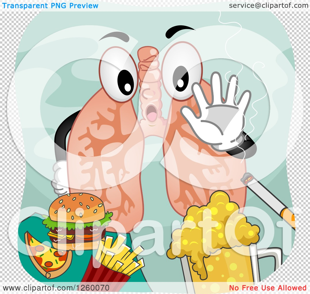 Clipart of a Pair of Lungs Saying No to Junk Food Beer and