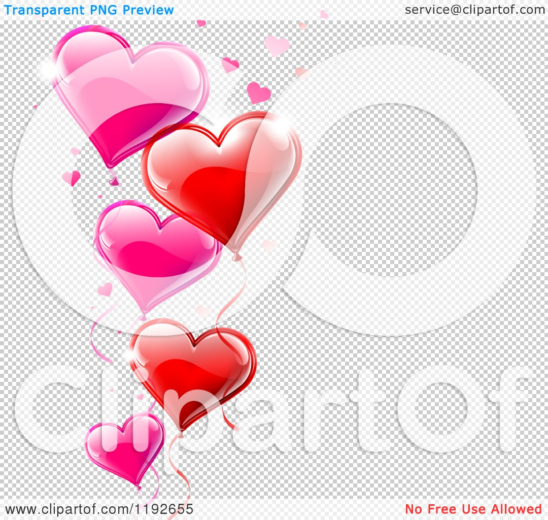Clipart of a Pink and Red Valentines Day Heart Balloons and ...
