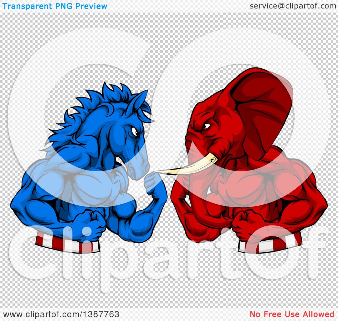 Clipart of a Political Aggressive Democratic Donkey or Horse and ...