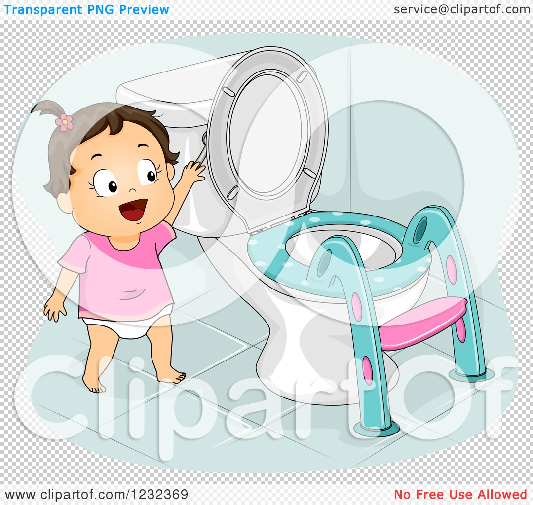 Clipart Of A Potty Training Toddler Girl Flushing A Toilet