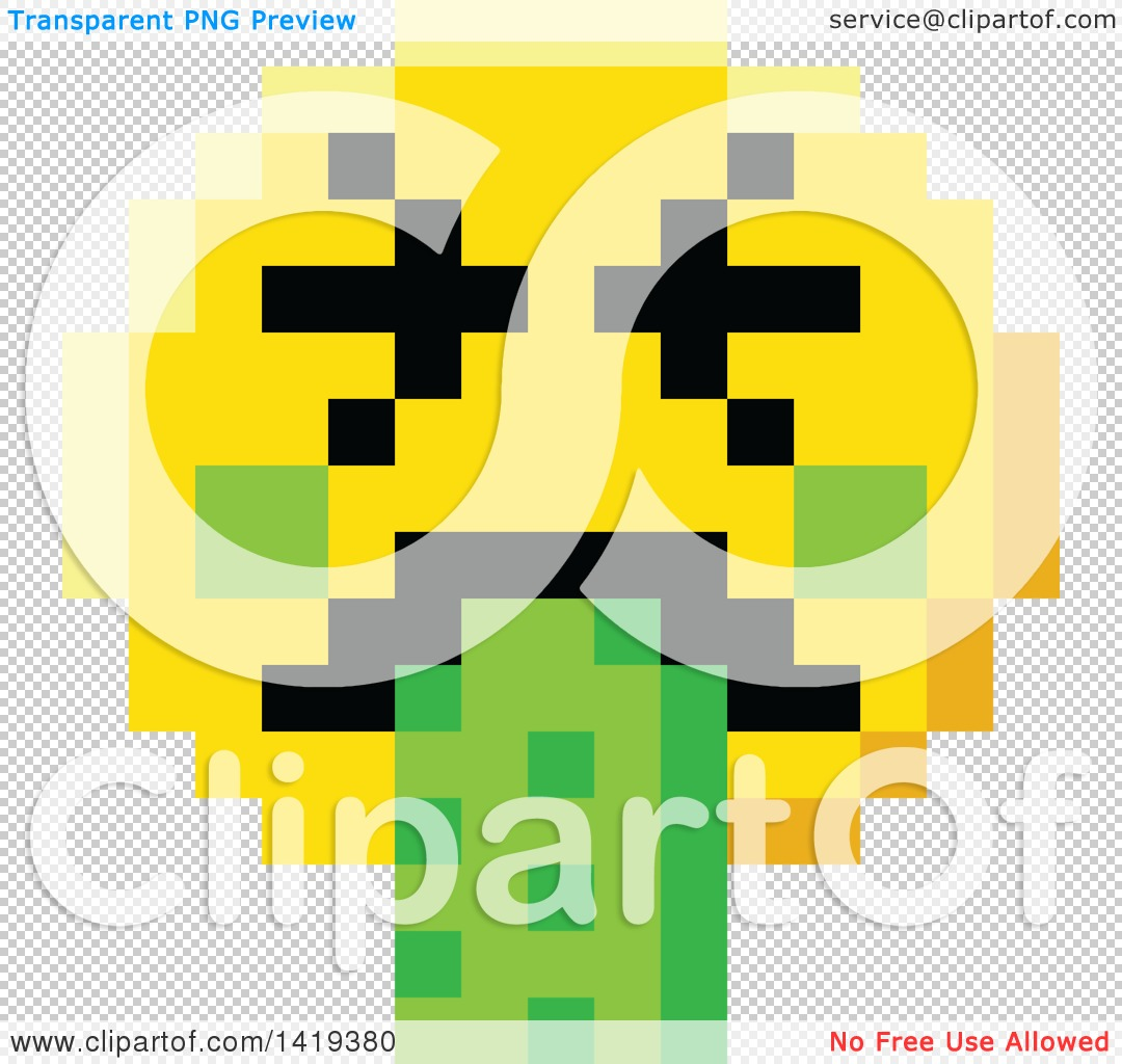 Clipart of a Puking 8 Bit Video Game Style Emoji Smiley Face ...
