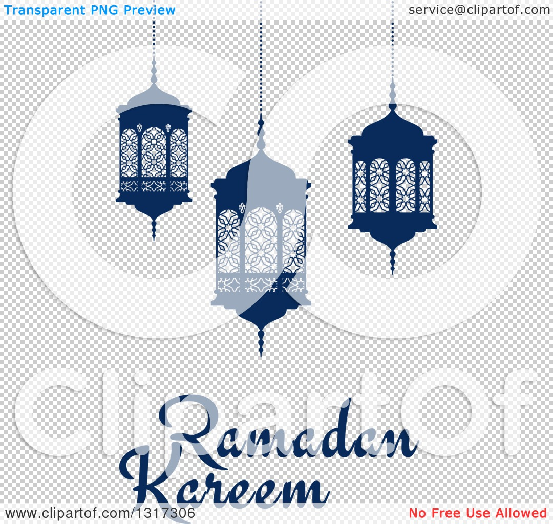 Clipart of a Ramadan Kareem Greeting with Blue Lanterns - Royalty ... for Ramadan Clipart Png  61obs