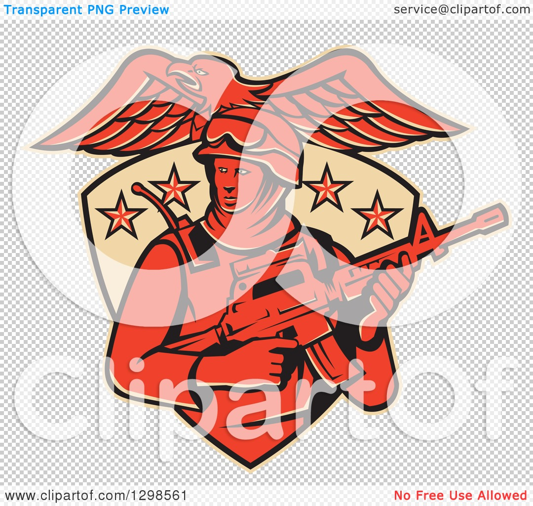 Clipart of a Red American Solder Swat Police Man with a M4 Carbine ...