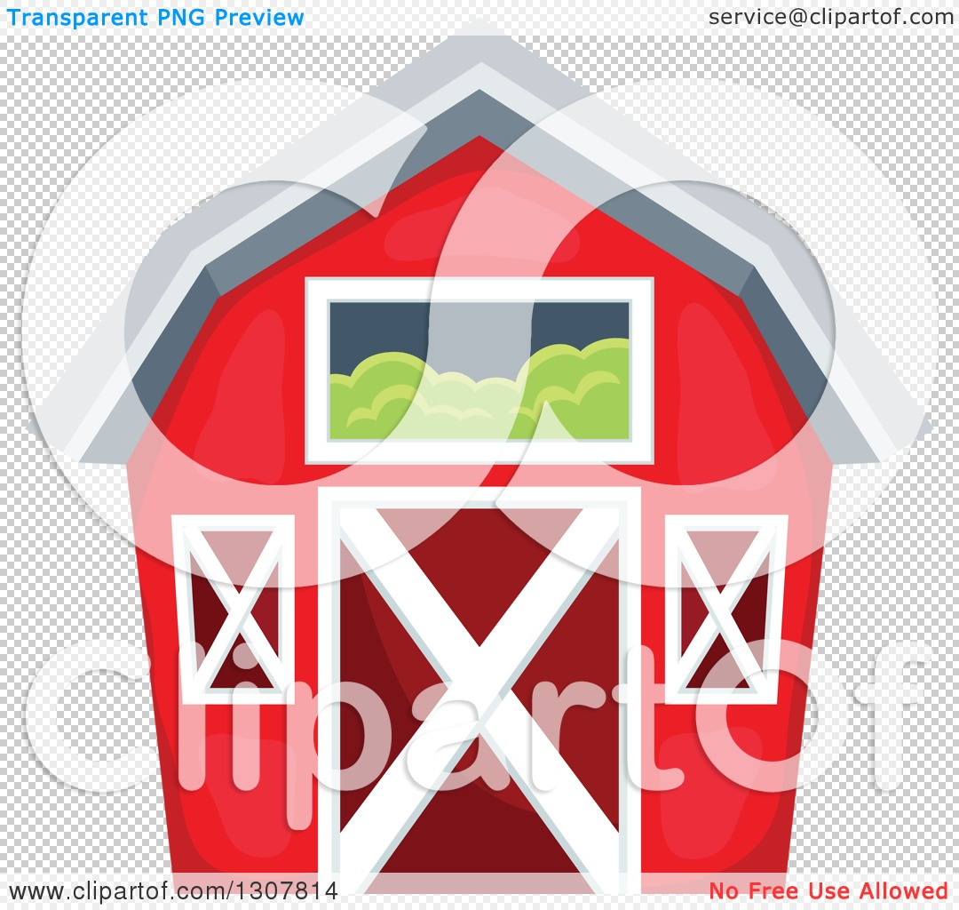 Red Barn Clip Art Transparent clipart of a red barn with a hay loft - royalty free vector