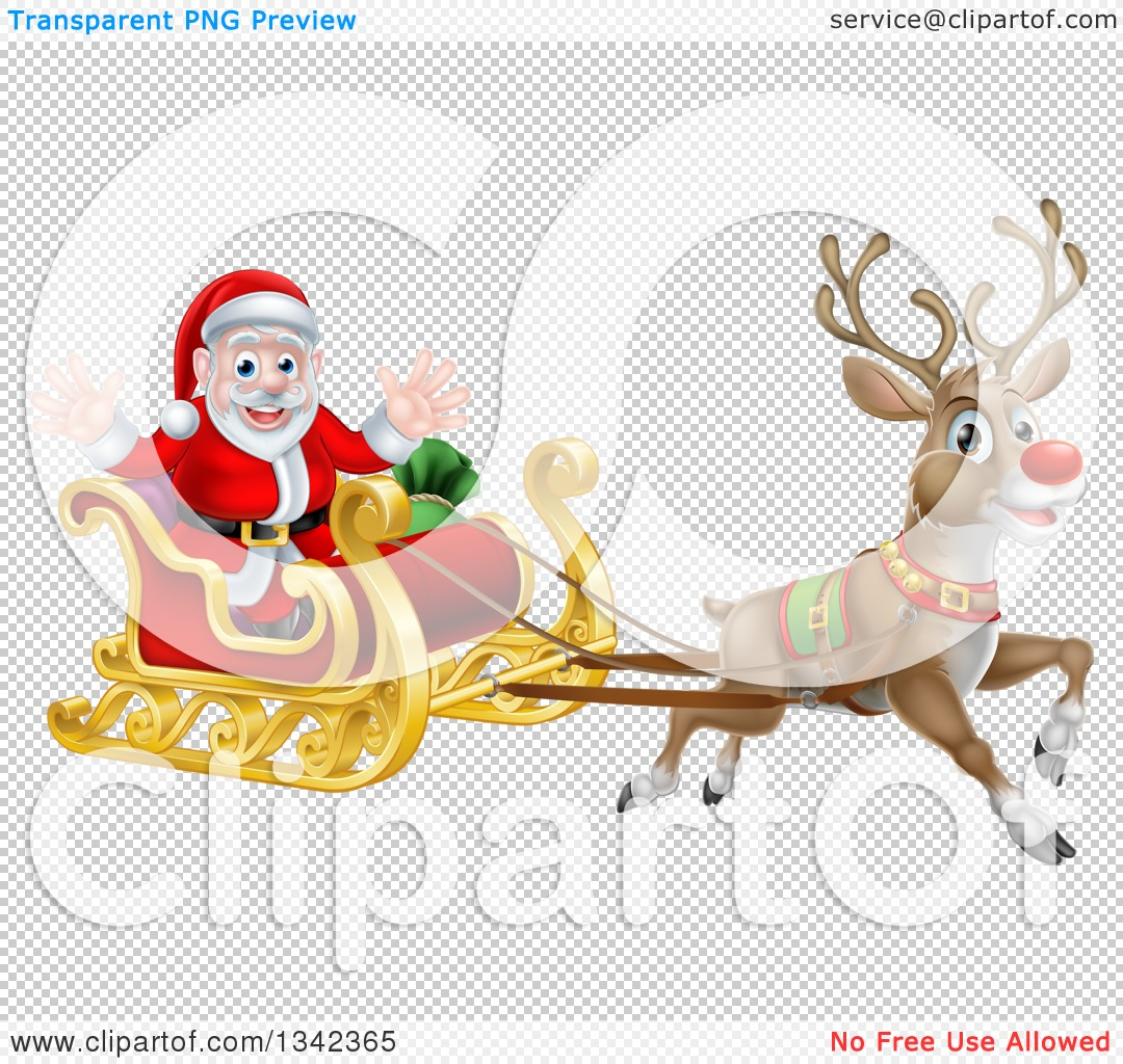 Clipart of a Red Nosed Reindeer, Rudolph, Flying Santa in a Sleigh ...