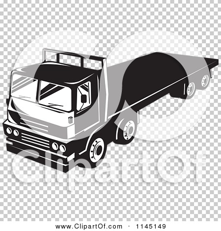 Clipart of a Retro Black and White Big Rig Truck with a Flat Bed ...