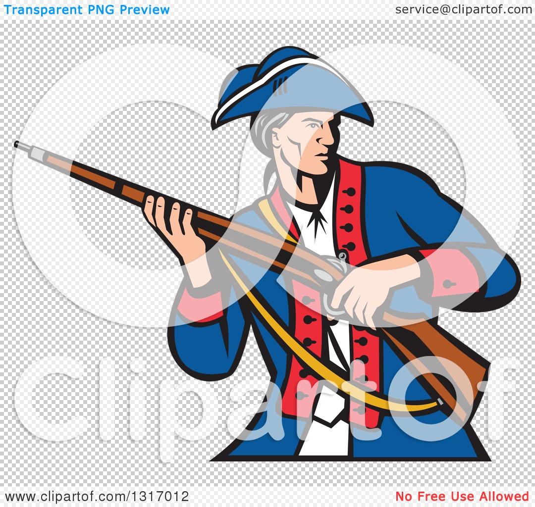 clipart of a retro cartoon american patriot militia soldier carrying rh clipartof com Revolutionary War Cannon Clip Art Revolutionary War Freedom