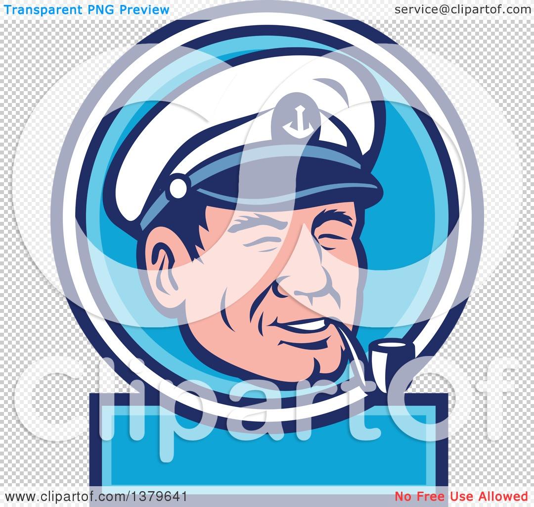Clipart of a Retro Cartoon Sea Captain Smoking a Pipe in a Blue ...
