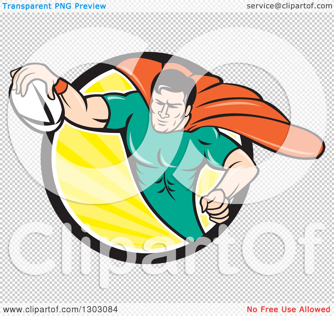 Clipart of a Retro Cartoon Super Hero Flying with a Rugby Ball and ...