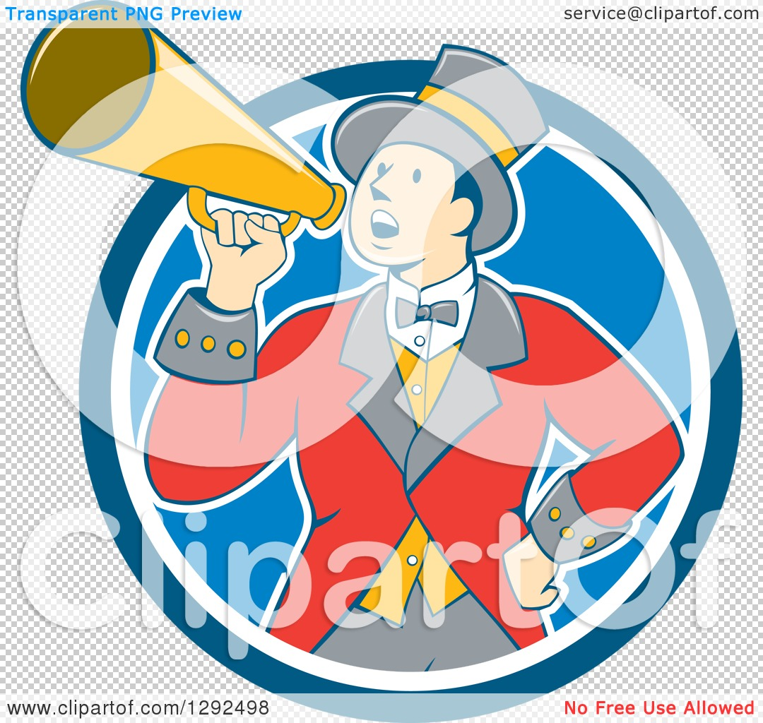 Clipart of a Retro Cartoon White Male Circus Ringmaster Announcing ...