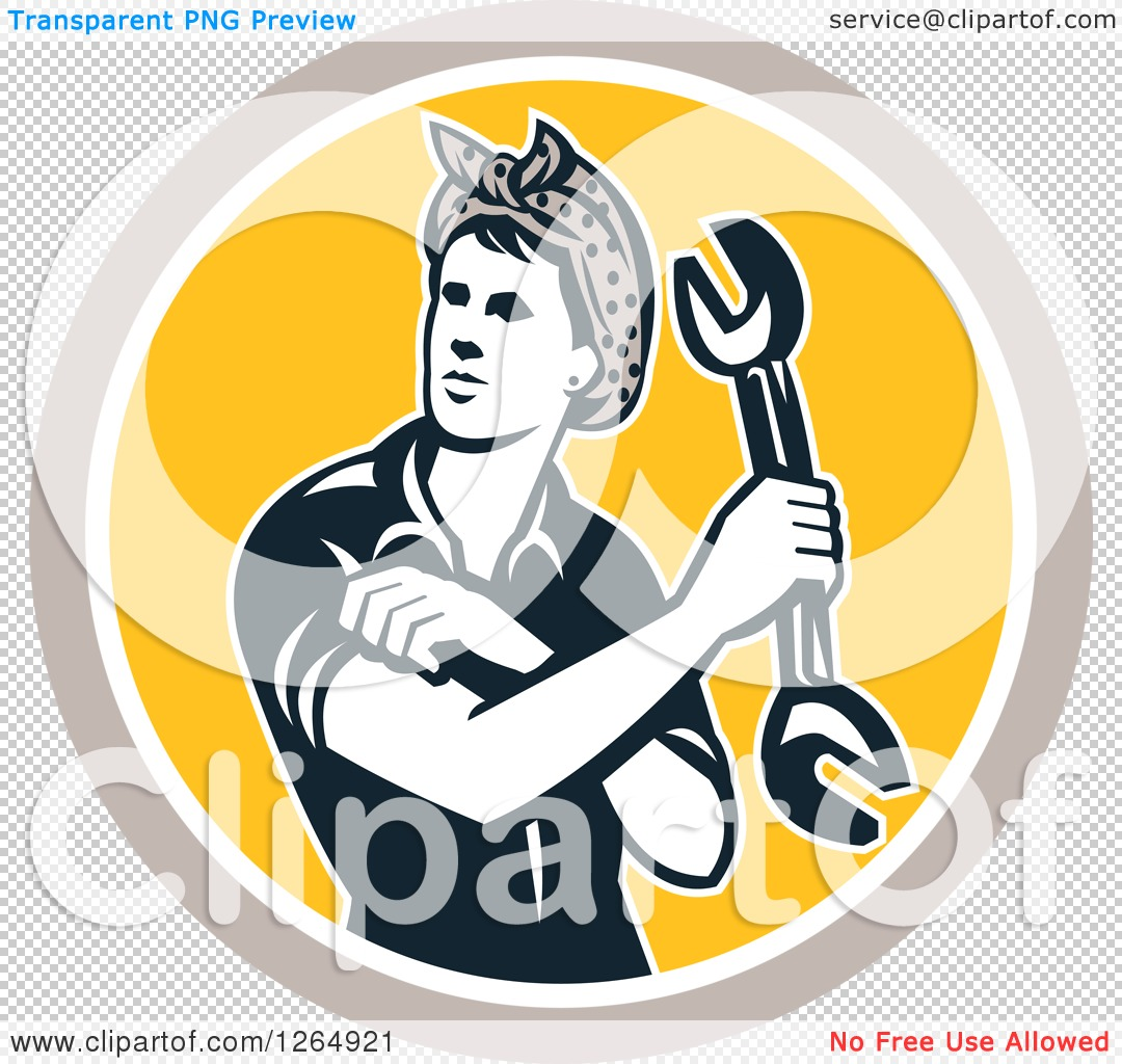 Clipart of a retro female mechanic holding wrench and