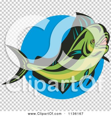 Mahi-mahi or Common Dolphinfish Diving Down Retro - vector EPS clipart