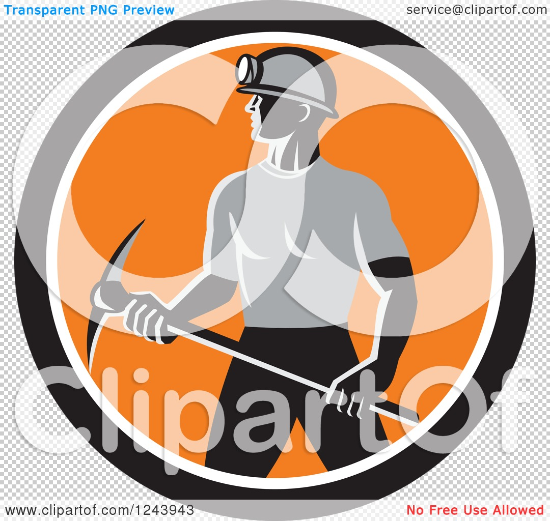Clipart of a Retro Male Coal Miner Worker with a Pickaxe in a ...