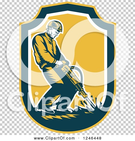 Clipart of a Retro Male Construction Worker Operating a Jackhammer ...