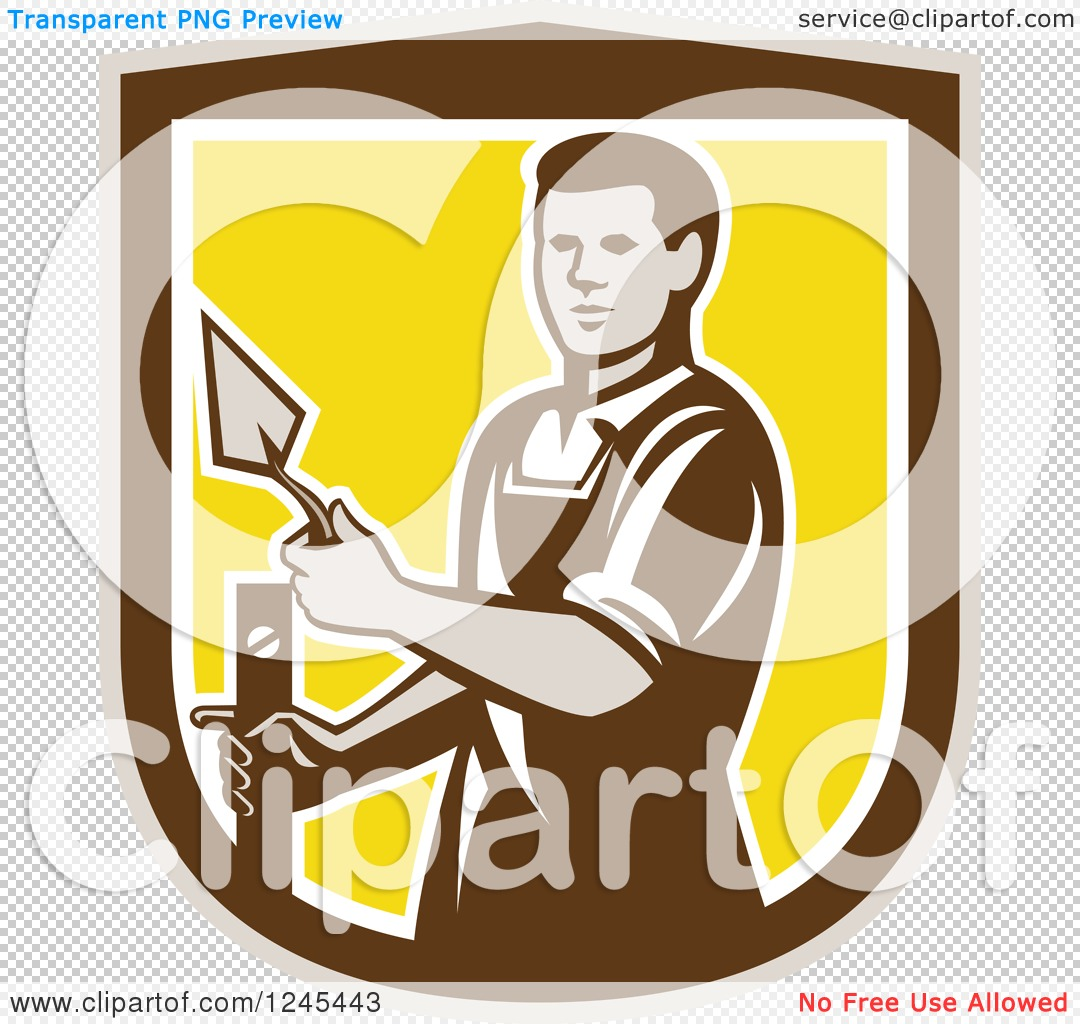 Clipart of a Retro Male Plasterer Worker in a Shield - Royalty ...