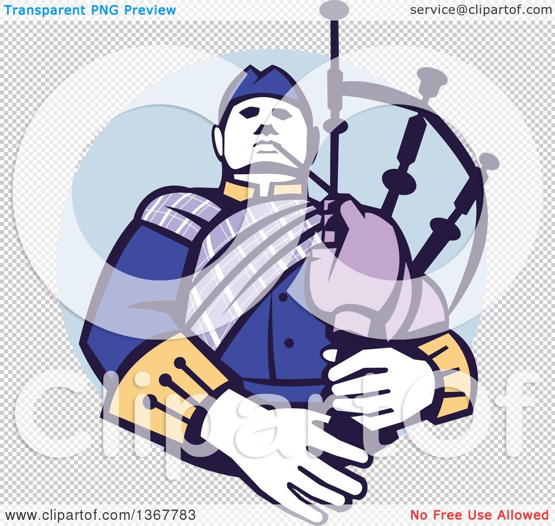 Clipart of a Retro Scotsman Bagpiper in a in a Blue Circle ...
