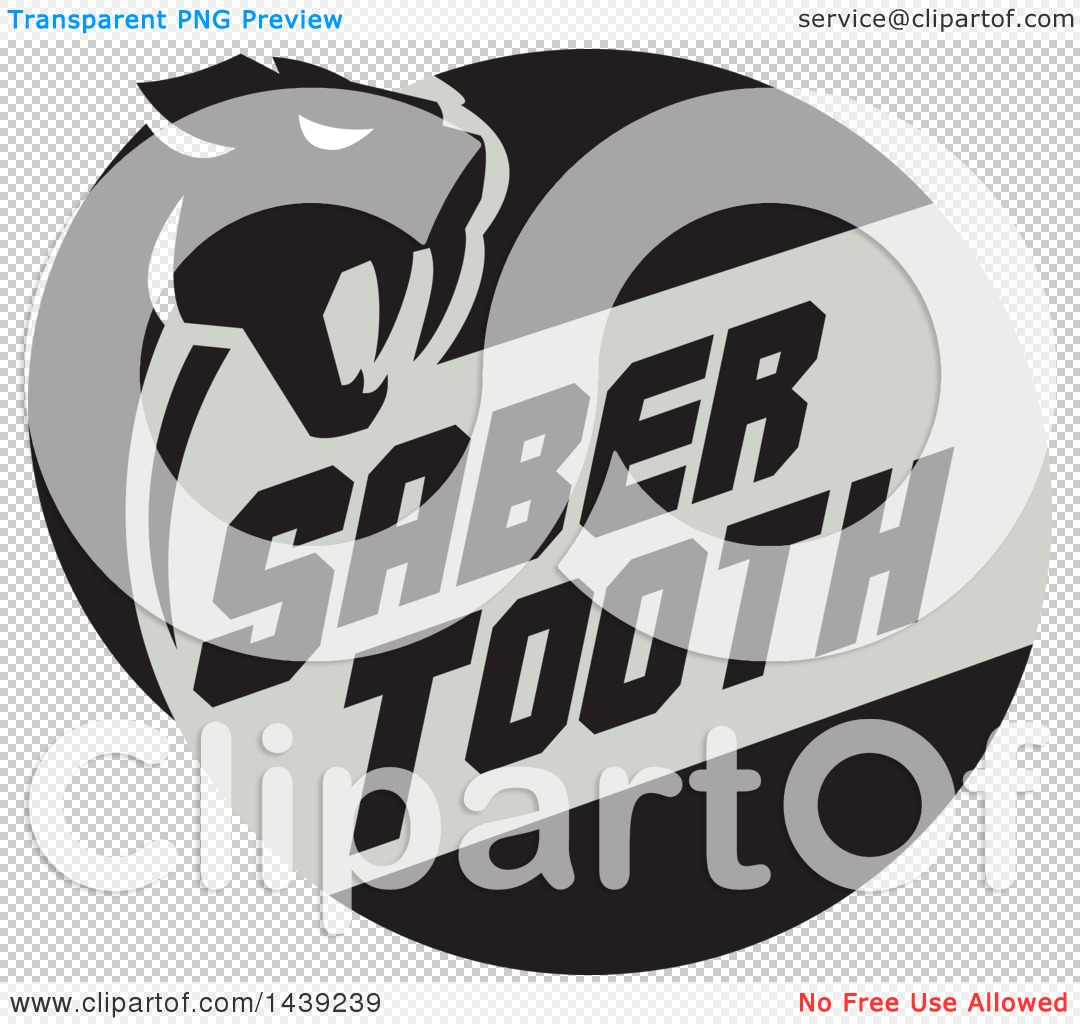 Clipart of a Retro Silhouetted Saber Tooth Tiger Cat with Text in ...