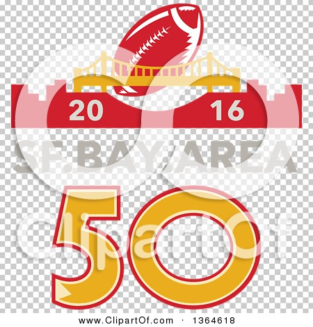 Clipart of a Retro Super Bowl 50 Sports Design with a Football ...