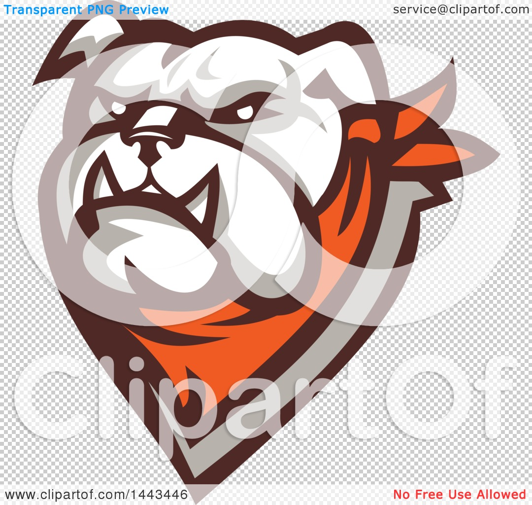 Clipart Of A Retro Tough Bulldog Head With A Bandana Royalty Free
