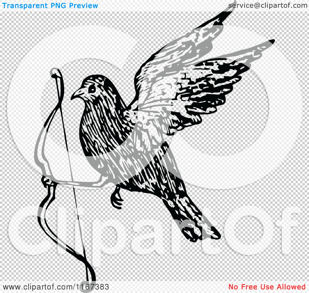 Clipart of a Retro Vintage Black and White Bird Flying ...