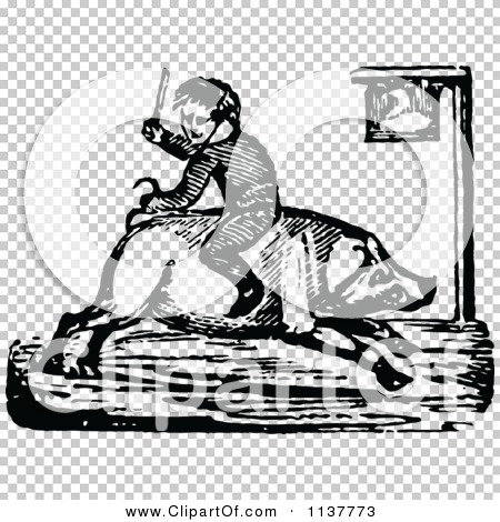 Clipart Of A Retro Vintage Black And White Boy Riding A ...