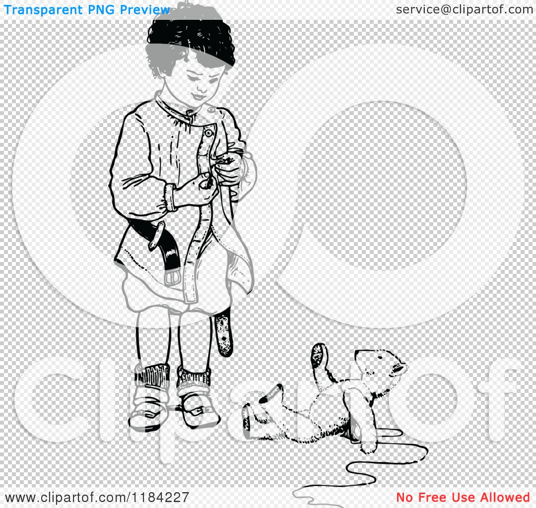 Clipart of a Retro Vintage Black and White Boy Standing ...