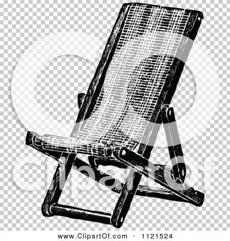 Clipart Of A Retro Vintage Black And White Folding Deck Chair ...