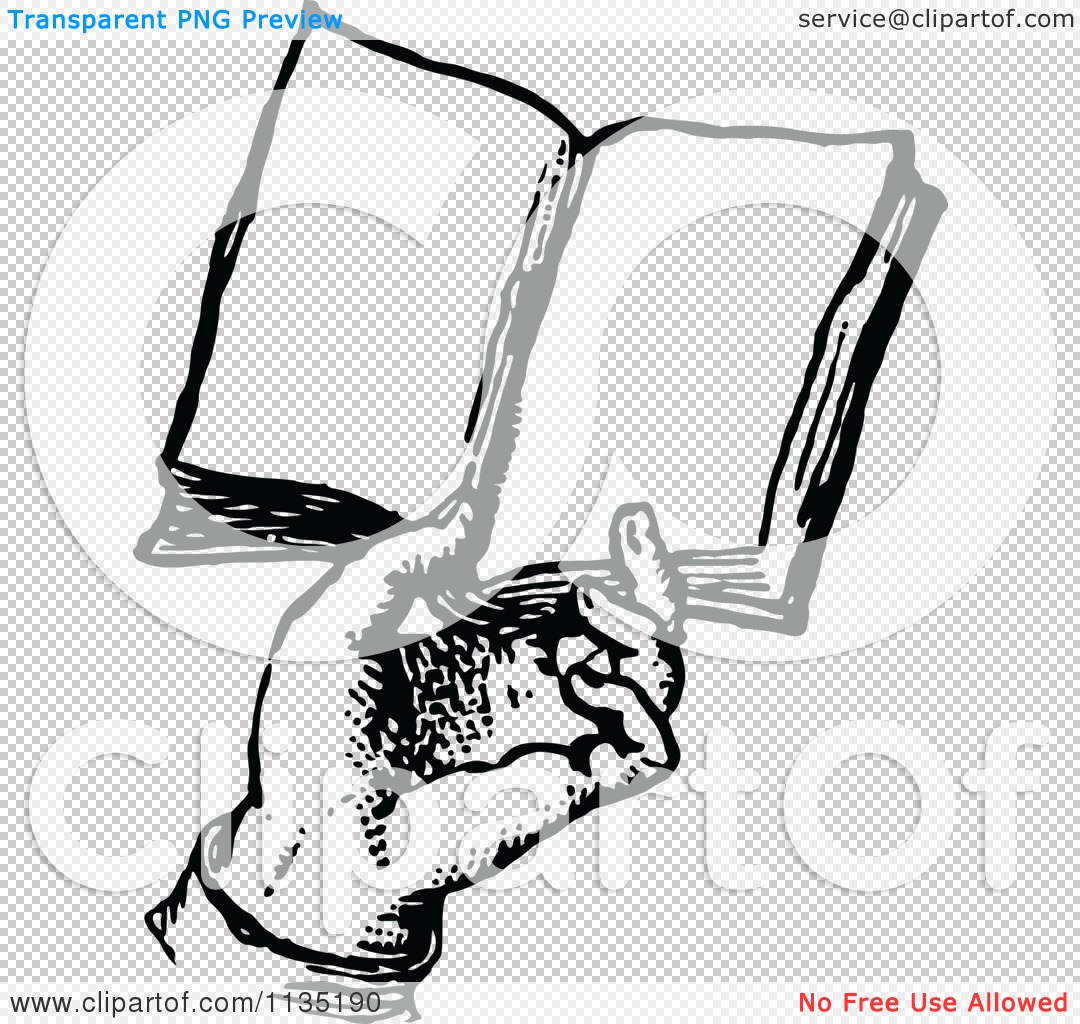 Classic Retro Illustration: Clipart Of A Retro Vintage Black And White Hand Holding A