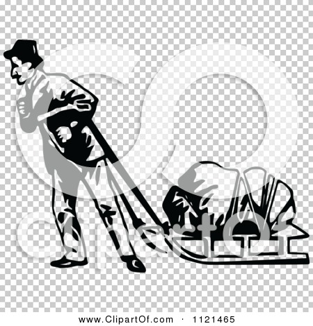 sled clipart black and white  Retro Vintage Black And