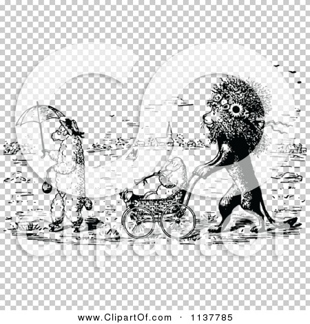 Clipart Of A Retro Vintage Black And White Lion Pushing A Lamb In ...