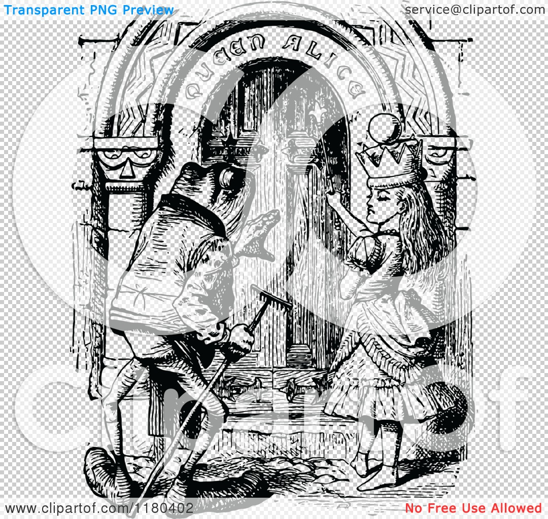 Clipart of a Retro Vintage Black and White Queen Alice and ...