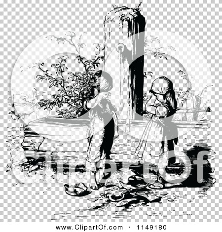 Clipart of a Retro Vintage Black and White Sad Children with a ...