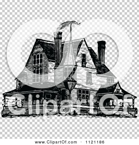 Clipart Of A Retro Vintage Black And White Victorian Queen Anne ...