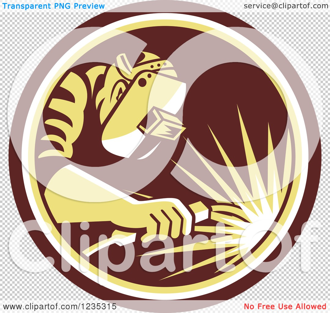 Clipart of a Retro Welder Worker in a Brown and Yellow Circle ...
