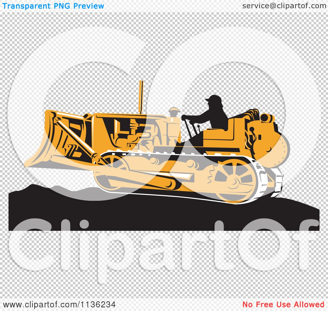 clipart of a retro worker operating bulldozer machine 1 royalty free vector illustration by. Black Bedroom Furniture Sets. Home Design Ideas