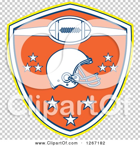 5b392f9bfc9 Clipart of a Retro Yellow White Blue and Orange American Football ...