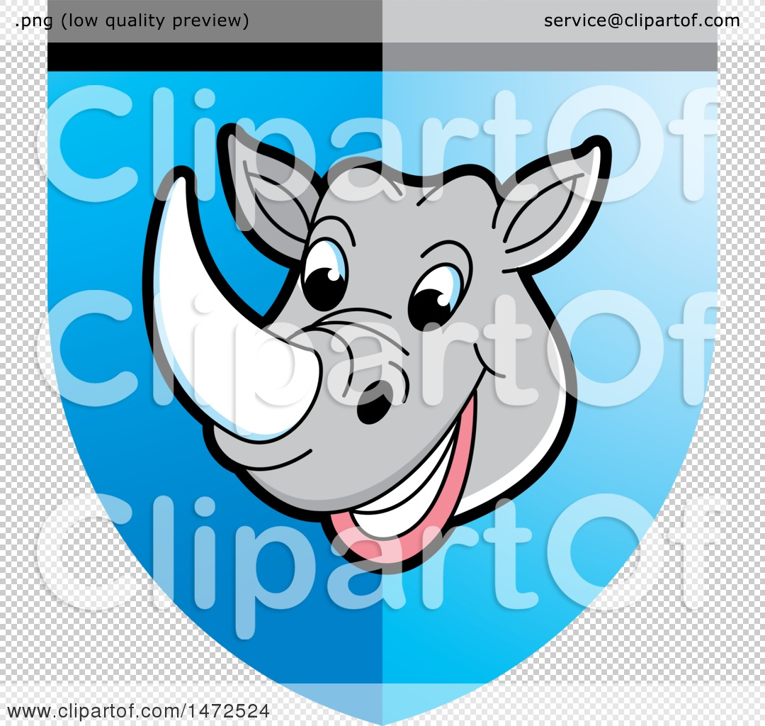 Clipart of a Rhinoceros Mascot Face in a Shield - Royalty Free