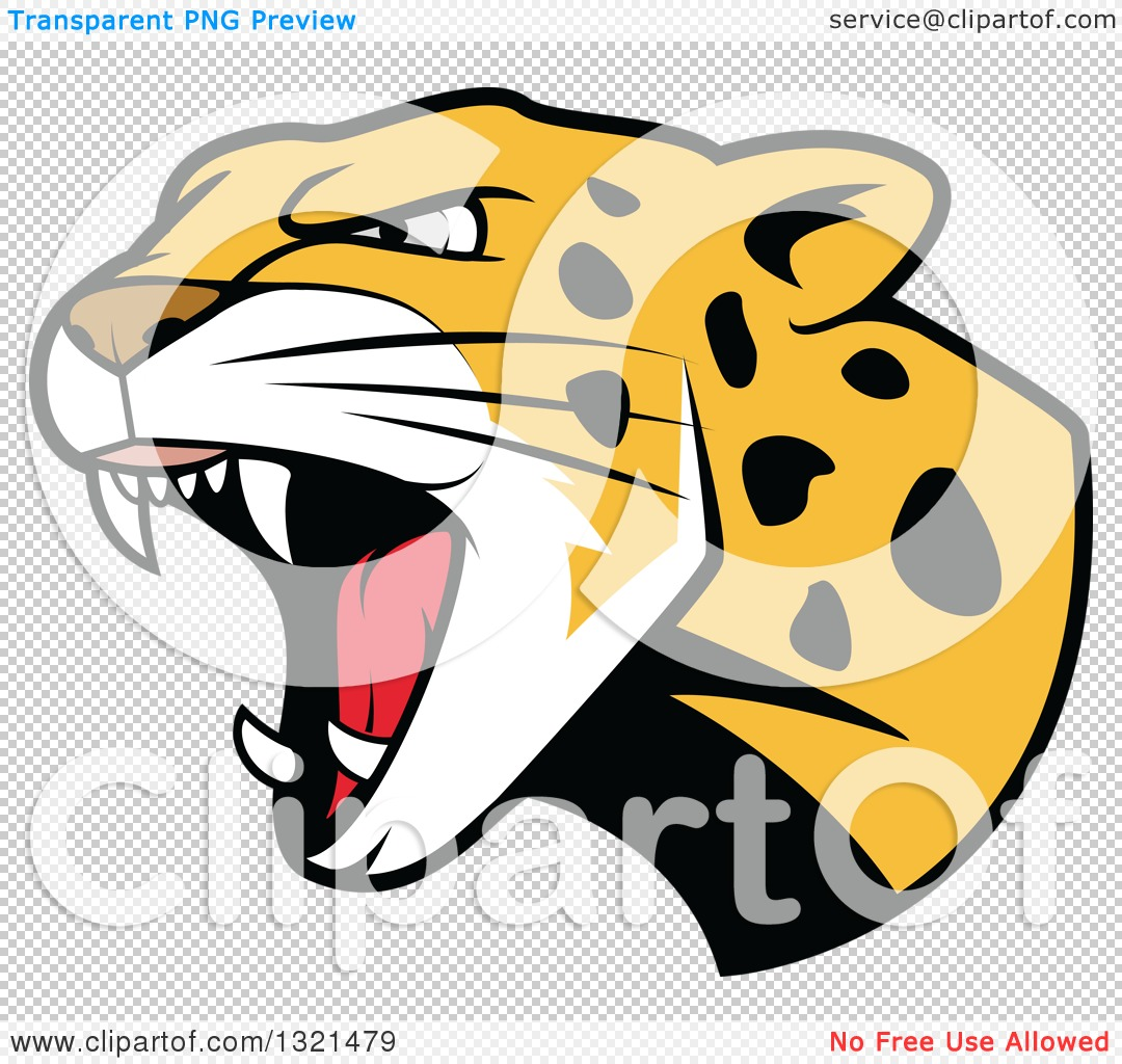 clipart of a roaring angry jaguar or leopard big cat head royalty rh clipartof com Panther Head Clip Art leopard head clip art black and white