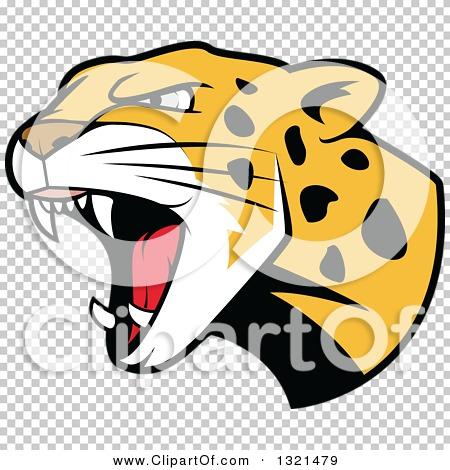 Clipart of a Roaring Angry Jaguar or Leopard Big Cat Head ...