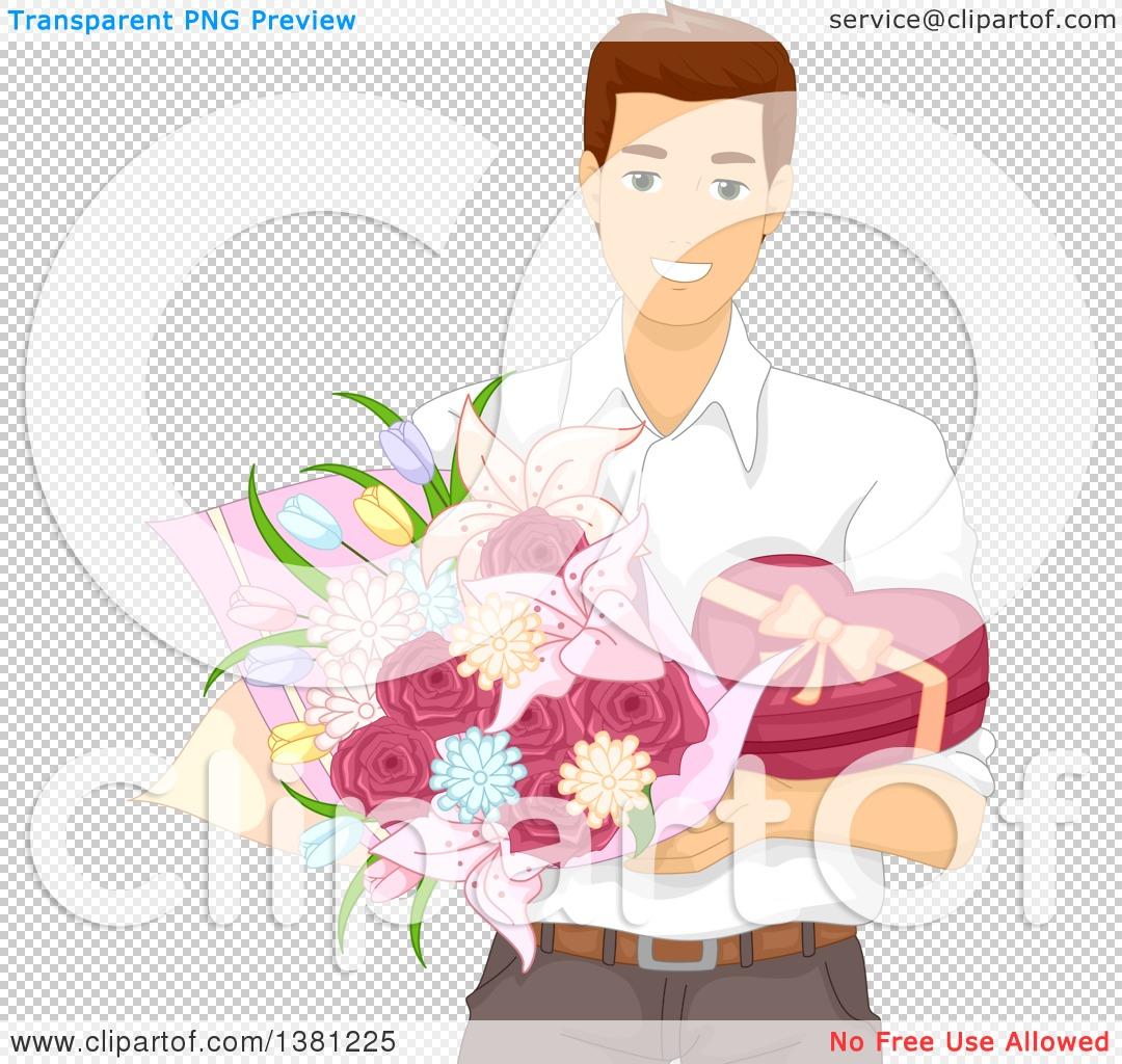Clipart of a Romantic Brunette Caucasian Man Holding Valentines ...
