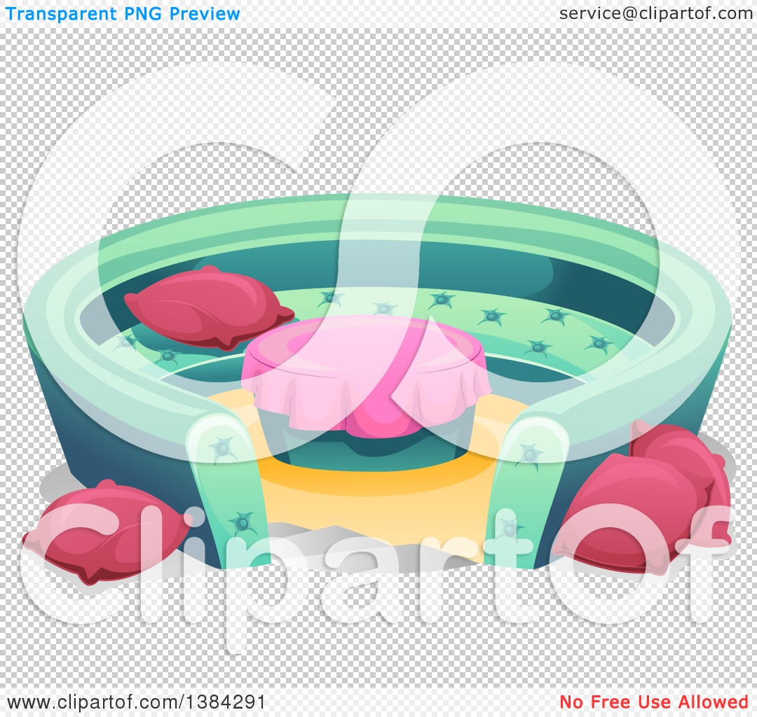 clipart of a round conversation pit couch with pillows