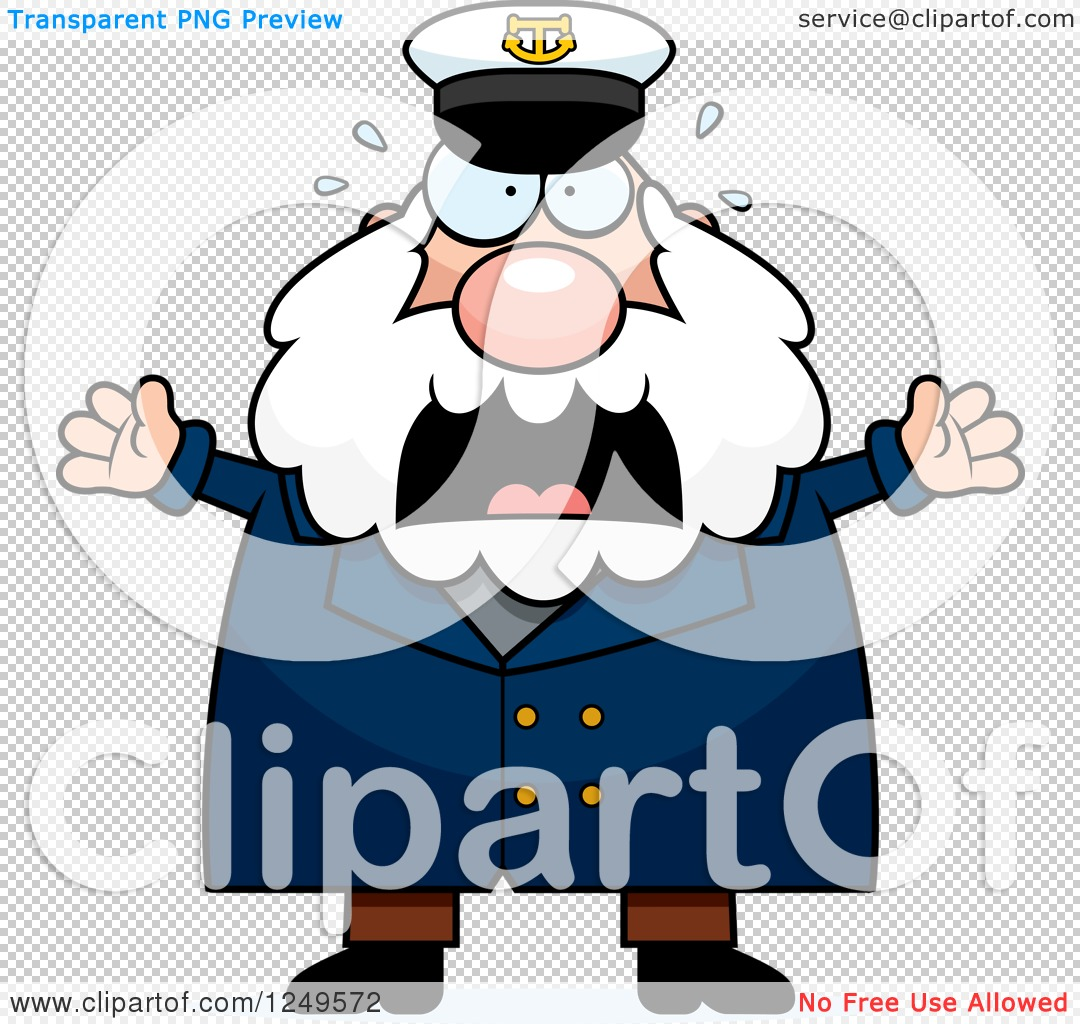 Clipart of a Scared Screaming Chubby Sea Captain Man - Royalty ...